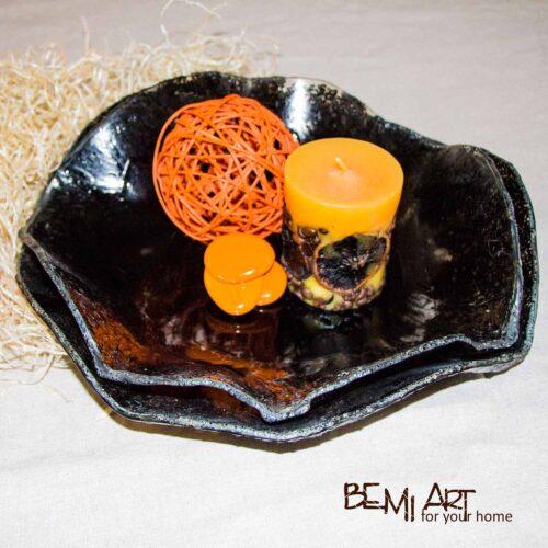 Černá dekorační mísa na ovoce