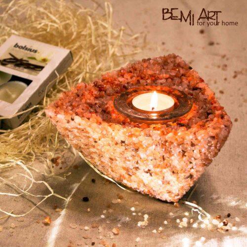 Svícen na čajovou svíčku - sůl