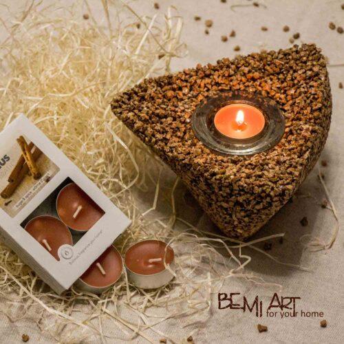 Svícen na čajovou svíčku korek svíčky Bolsius